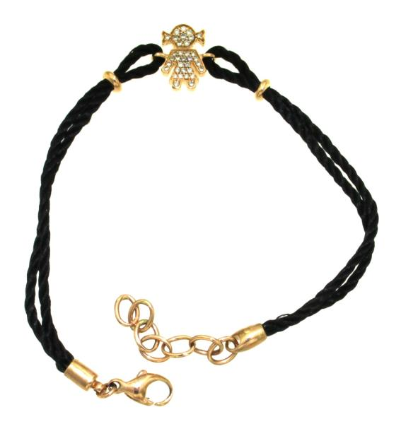 EASY BRACCIALE IN CORDINO CON BIMBA E PAVÈ DI DIAMANTI CT CIRCA 0.22 TOT COLORE H PUREZZA VS  ORO ROSA 750/1000 GR 6.4